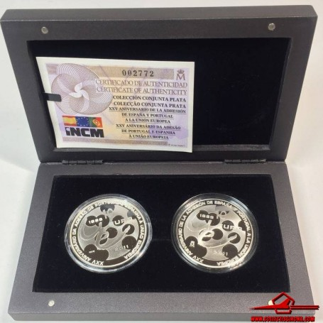 SPAIN AND PORTUGAL EUROS 2x10 SILVER 25TH ANNIVERSARY ACCESSION EUROPEAN UNION 2011. WITH CASE