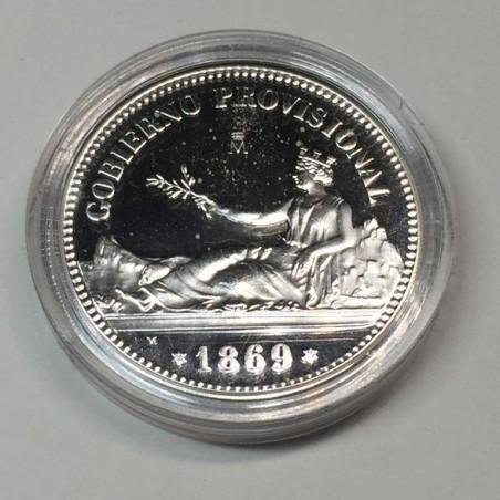 SPAIN SILVER COIN REPLICA OF 1 PESETA (GOBIERNO PROVISIONAL) OF 1869. HISTORIA DE LA PESETA COLLECTION