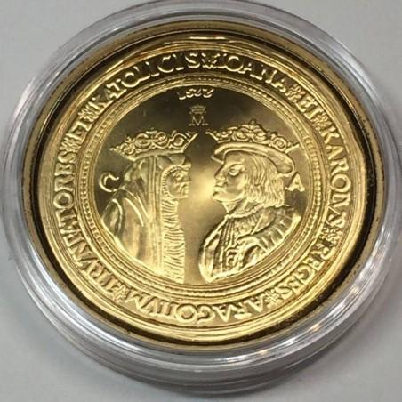 REPLICA 100 DUCADOS JUANA & CARLOS IV. FNMT 925 SILVER & GOLD 24 Kts. HISTORIA DE LA MONEDA ESPAÑOLA COLLECTION