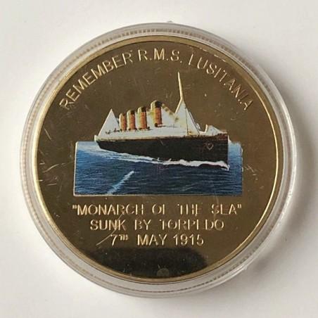 """COMMEMORATIVE TOKEN REMEMBER R.M.S LUSITANIA """"MONARCH OF THE SEA"""" (1906-1915), LIVERPOOL. SOUVENIR COLLECTION"""