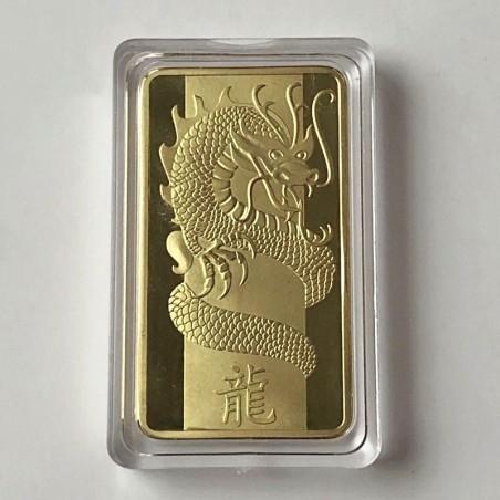 COMMEMORATIVE TOKEN CHINESE DRAGON, SWITZERLAND, GOLD 1 OUNCE. SOUVENIR COLLECTION